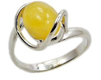 Forever Sunshine Sterling Silver Butterscotch Baltic Amber Ring Amber from Poland AE345 Jewelry The Silver Plaza
