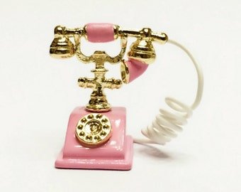 Miniature  Pink telephone phone 1/12  Dollhouse  diy doll  3 cm