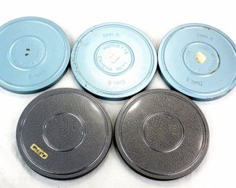 Vintage 8mm film reel can lot (5) - Home Theater Accessories