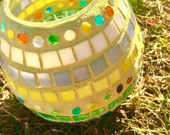 Easter Egg Candle Holder, Easter decoration, table decor, egg hunt, pastels, striped, dotted eggs, gift, stained glass mosaic egg, prize