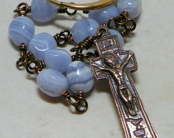 Bronze and Blue Lace Agate 1722 Irish Penal Lifetime Rosary