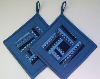 Pot Holders Quilted Potholders Blue Fabric Potholders Patchwork Potholders  Set of 2
