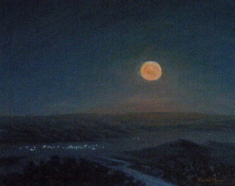 Utah 'Super Moon' - nocturne - plein air - original landscape painting - oil - night - sky - dark - impressionist