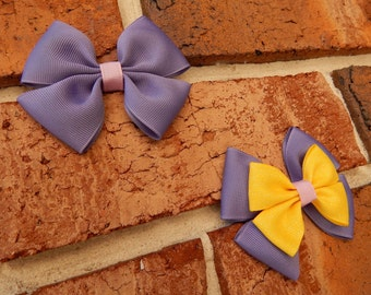 Tower Princess Basic or Deluxe Boutique Hair Bow - 3-1/2 inch Alligator Clip Single or Stacked Bow