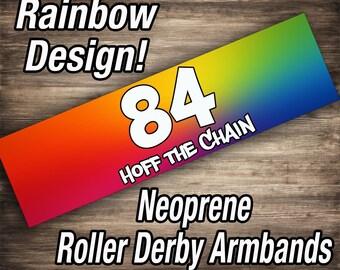 Custom Roller Derby Armbands - Rainbow