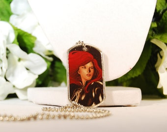 Black Widow Dog Tag Necklace