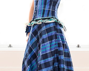 Silk tartan corset dress, special occasion wear, prom dress, mother of the bride, Scottish dancing, tartan UK made by VelvetTigers