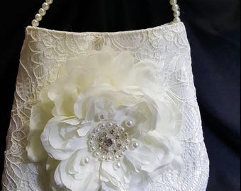 Communion handbag  Vommunionwhite lace silk flowers pearls beads crystals ivory flowergirl wedding