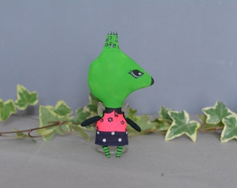 Light green hare - Bunny toy - Monster toy - Handmade doll - Little toy - Exrime primitive - Miniature doll - Stuffed doll -  Rag doll.