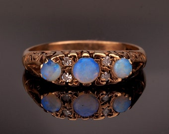 Opal Diamond Ring, Engagement Ring with Jelly Opals
