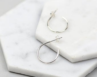 Handmade Sterling Silver Hoop Stud Earrings