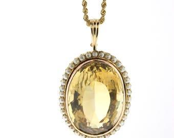 Vintage Citrine Pendant, Rose Gold Citrine & Pearl Pendant, 80ct Oval LARGE Citrine Necklace