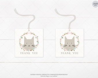 INSTANT DOWNLOAD /  Kitty Favor Tag - DIY Printable Digital File - Hang Tags, Thank You Tag, Gift Tags - Baby Shower, Birthday - Kitty Cat
