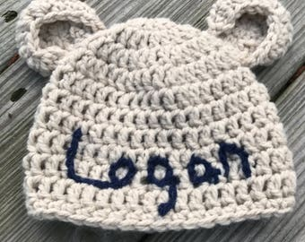 Crochet Beanie,  Crocheted Hat with name, Customised with name, Newborn bear hat, newborn Gift,