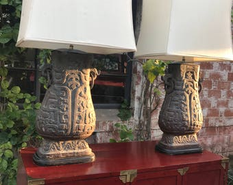 Pair of Monumental Vintage James Mont Style Chinese Chinoiserie Shang Dynasty Bronze Verdigris Hu Vessel Lamps with Original Shades