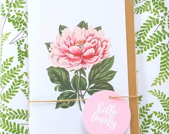 Floral Note Cards / Peony Note Cards - Set of 2