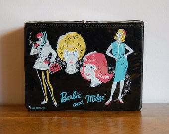 1963 Barbie and Midge Lunch Box, Black Vinyl Barbie Bubblecut Lunchbox, Collectible Mid Century Mattel