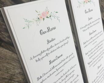 Menu Cards. Rustic wedding menu with floral print