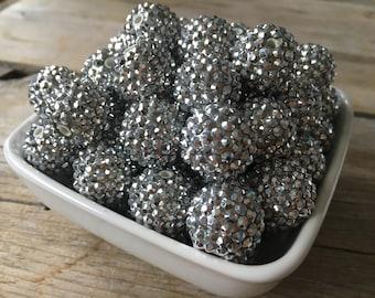 20mm Silver Rhinestone Chunky Bead, Gray Bubblegum Bead, Acrylic Bead, DIY Chunky Necklace, 10 Count