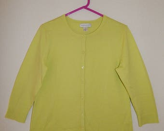 """Christopher + Banks 38"""" Bust Womens M Yellow Green Chartreuse Thin Knit Cardigan Sweater"""