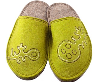 Wool Slippers Felted Slippers Women Slippers Home Shoes Warm Slippers Handmade Slippers Lung Ko