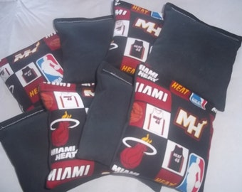 8 ACA Regulation Cornhole Bags - 4 handmade from Miami Heat Fabric & 4 Solid Black Bags