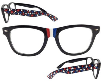 Women's 4th of July CLEAR LENS Glasses with Hand Painted Red, White, and Blue Patriotic Polka Dots