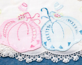 Vintage Pillowcase Pair, Southern Belles, Hand Appliqued & Hand Embroidered Twin Belles, Cotton Pillow Tubing, Crocheted Trim,Pink and Blue