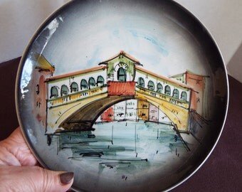 Venice Grand Canal Rialto bridge hand painted wall plate  Italian wall plaque  Venezia souvenir