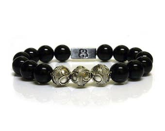 Men's Obsidian, Black Obsidian and Silver Bracelet, Black Obsidian Bracelet, Obsidian Bracelet, Black Beads Bracelet Men, Obsidian Bracelets