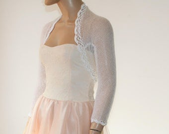 White Shrug Crochet Bolero, Knit Cowl Shrug, Lace Shrug, Mohair 3/4 Sleeve Sweater Shrug, Winter Bridal Shrug Bolero Jacket / S - M - L