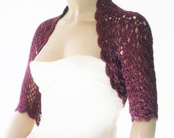 Purple crochet shrug/ Wedding bolero shrug//Bolero jacket/Lace shrug/Bridal shoulders cover/Bridesmaids Cover up Bolero