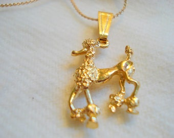 FRENCH POODLE Dog Pet Charm Pendant Necklace Vintage Gold Plated by DAD #354