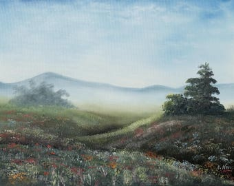 "Original Oil Painting canvas Landscape Foggy morning Impressionism painting 24""x 18"" by Nataliia Novosad Foggy morning original artwork"