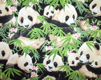 Realistic Panda Bears with Bamboo & Floral Elizabeth's Studio #6910 By the Yard