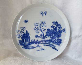 Vintage Blue Willow Serving Tray, Large Round Porcelain Plate with Lip