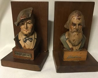 Vintage Bookends - Composers - Brahms & Wagner - Made in Italy