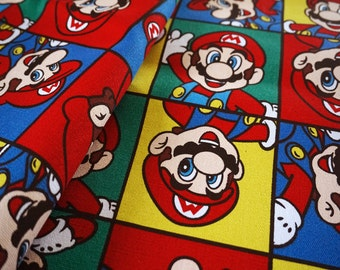 Pretty SUPER MARIO pattern canvas Cotton Fabric 45*145 cm DIY fabric 1/2y