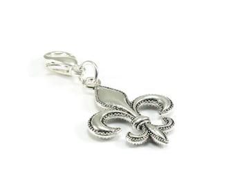 Fluer de Lis Zipper Pull, Fluer de Lis Purse Charm, Silver Clip On Charms