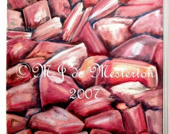 Framed Oil Painting of Fresh Pink Himalayan Salt by the Original Rock Painter, M-J de Mesterton