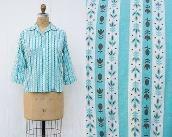 VINTAGE 1970s Cornflower Striped Button Down Blouse | Prairie Floral Collared Shirt | Southwestern Turquoise Cotton Top | Novelty Print Top