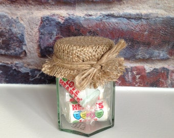 Love hearts wedding favors - Rustic sweet jars with thank you tags