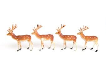 Miniature Reindeer Figurines, Set of 4, Miniature Deer, Craft Deer, Christmas Village Model Train Figures, Terrarium Animal Figurines