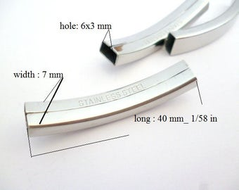 Stainless Steel Tube Connector_ MP645530088/BG/2256AD_ Connectors/Embellishing of 40x7 mm/ hole 6x3 mm_ pack 3 pcs
