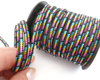 Bobbin Colorful Braided Nylon Cord_PP0453100688/BOBBIN_ Black Nylon Colorful cord of 5 mm _pack 8 METERS/ 8,75 yard