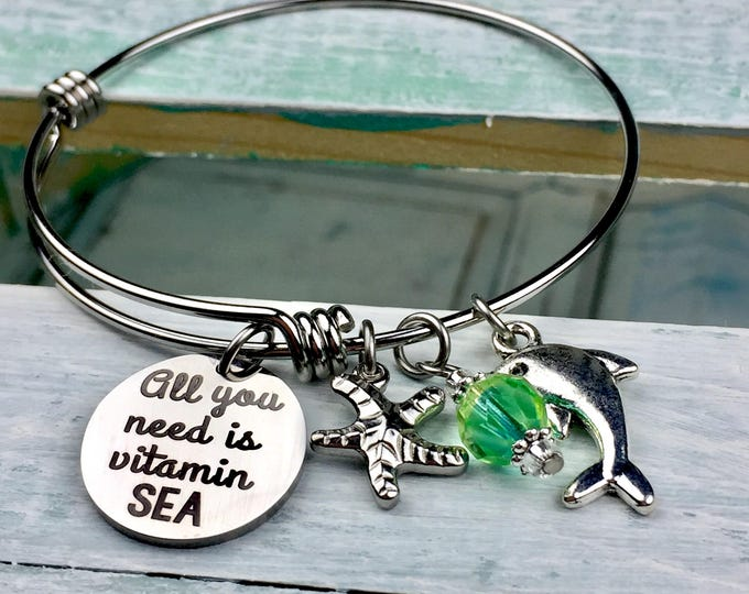 Vitamin Sea Expandable Bangle Charm Bracelet, beach, summertime, flips flops, toes in the sand, surfing, fun in the sun, watersports