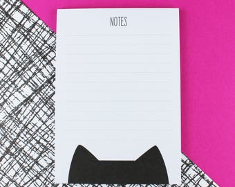 Cat notepad, A6 lined deskpad, cat gift, cat stationery