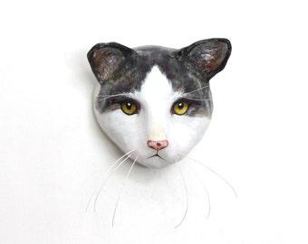 Kitty / Custom cat face portrait / Cat wall mount, art sculpture, faux taxidermy