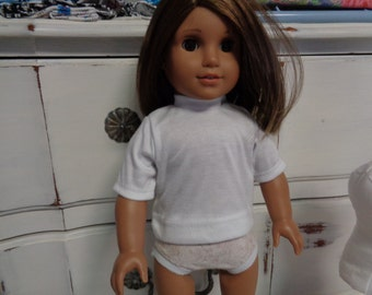 """White 18"""" Doll - T-Shirt- Shown on my American Girl Doll"""