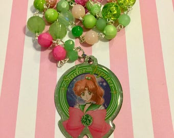 Sailor Jupiter // Sailor Moon // Metal Charm // Beaded Necklace